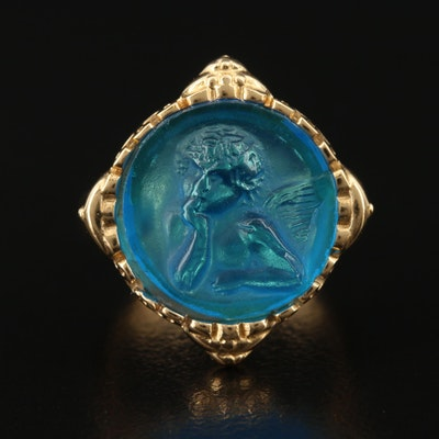 Italian Sterling Silver Molded Glass Cherub Ring