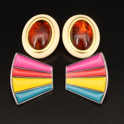 Yves Saint Laurent Enamel and Resin Clip Earrings