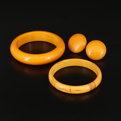 Vintage Butterscotch Bakelite Bangles and Earrings
