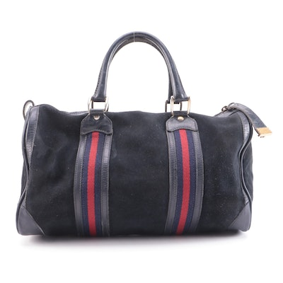 Gucci Web Stripe Suede Business Carry-On Bag with Leather Trim