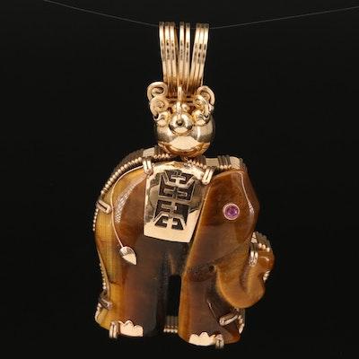 14K Chinese Tiger's Eye and Ruby Longevity Elephant Pendant