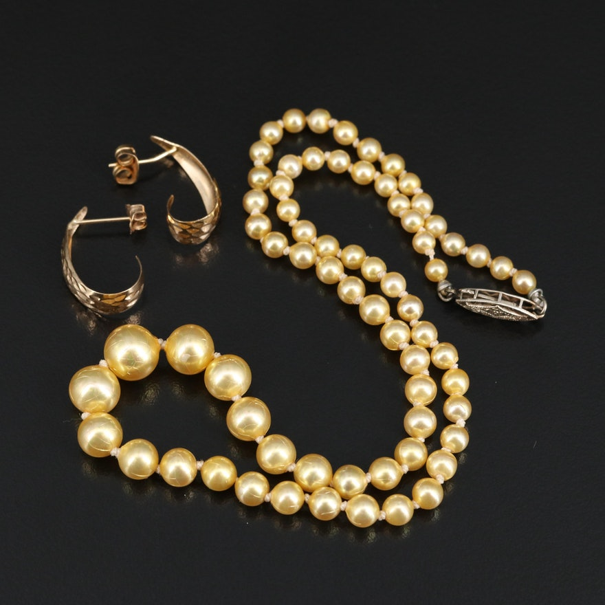 Faux Pearl Necklace with 14K Clasp and 10K Gold Earrings