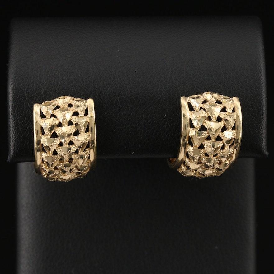 14K Diamond Cut Half Hoop Earrings