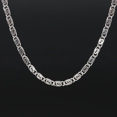 Sterling Silver Scroll Link Chain Necklace