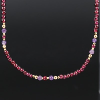 Rhodolite Garnet and Amethyst Beaded Necklace