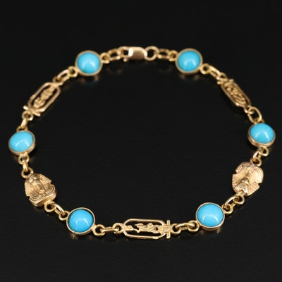 14K Turquoise Egyptian Themed Bracelet