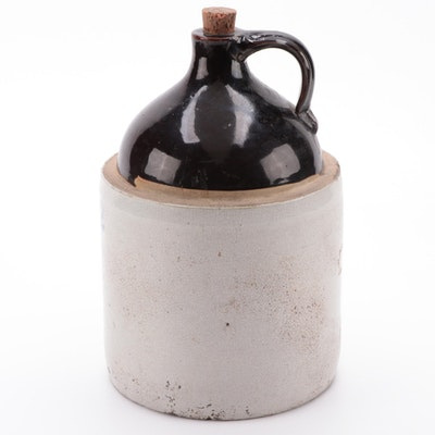 2 Gallon Brown and White Stoneware Jug, Early to Mid 20th Century