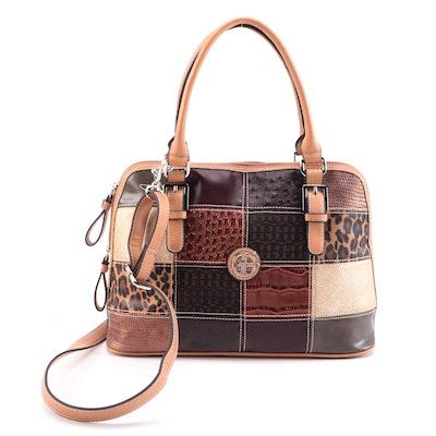 Giani Bernini Textile and Vegan Leather Patchwork Two-Way Bag