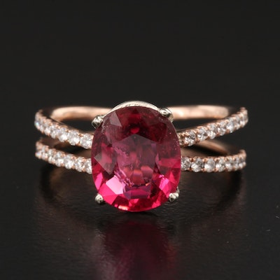 14K Rose Gold Tourmaline and Diamond Ring with Split Shoulders