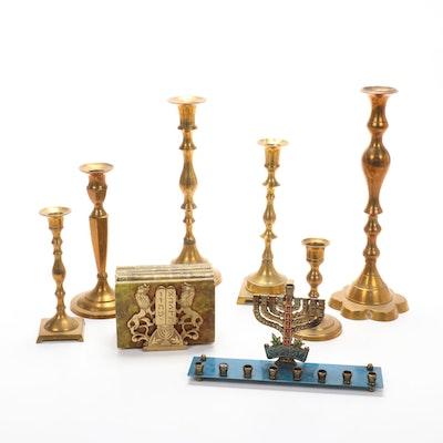 Torah Books, Enameled Brass Menorah, and Brass Candlesticks