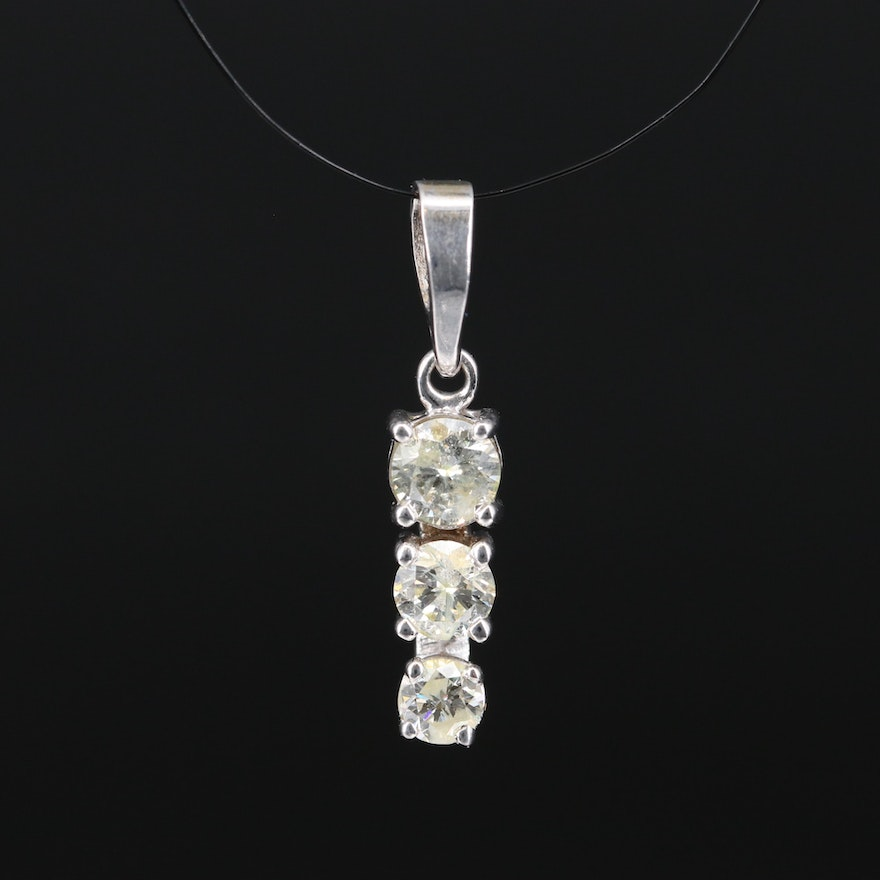 14K Diamond Graduated Pendant