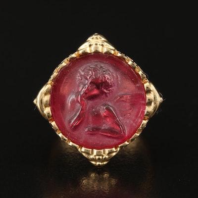 Italian Sterling Glass Cherub Ring