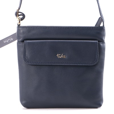 Tula Navy Nappa Leather Zip Crossbody