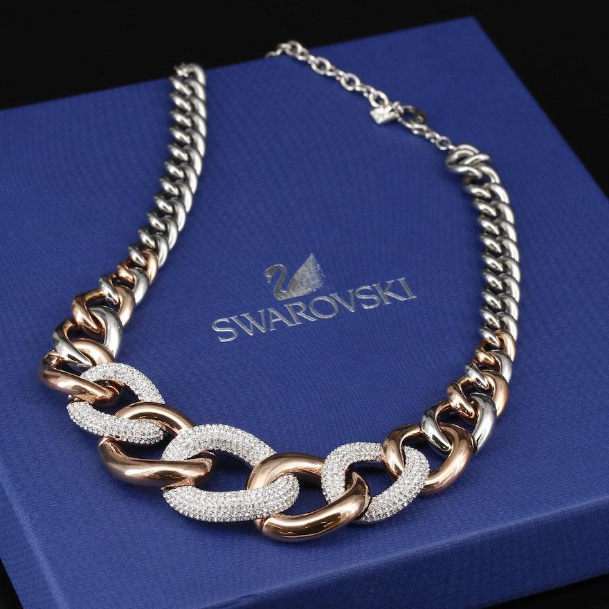 "Swarovski Crystal Graduated ""Bound"" Crystal Pavé Necklace"