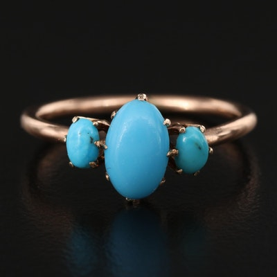 Vintage 10K Imitation Turquoise Ring