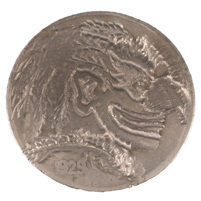 "Contemporary ""Hobo"" Style Carved 1929 Buffalo Nickel"