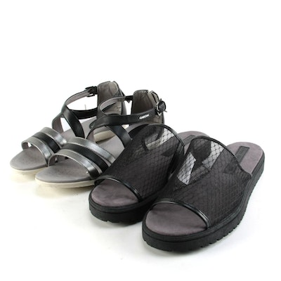 Lori Goldstein Collection and Geox Respira Black Sandals and Slides