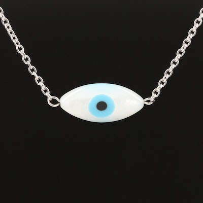 Sterling Mother of Pearl, Faux Turquoise and Faux Black Onyx Evil Eye Necklace