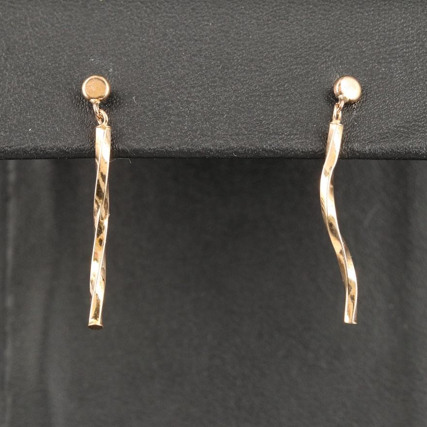 10K Twist Drop Earrings