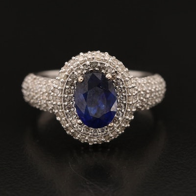 14K Corundum and Diamond Ring