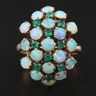 Vintage 10K Opal and Chalcedony Cluster Ring