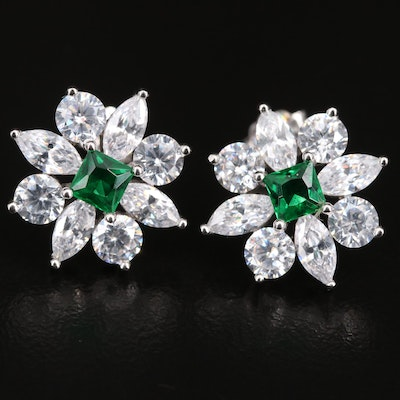 Sterling Silver Cubic Zirconia and Glass Flower Button Earrings