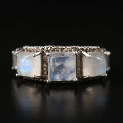 Sterling Silver Rainbow Moonstone and Topaz Ring