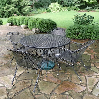 Metal Patio Dining Table and Chairs with Umbrella Base
