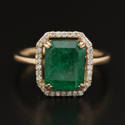 14K 3.33 CT Emerald and Diamond Halo Ring