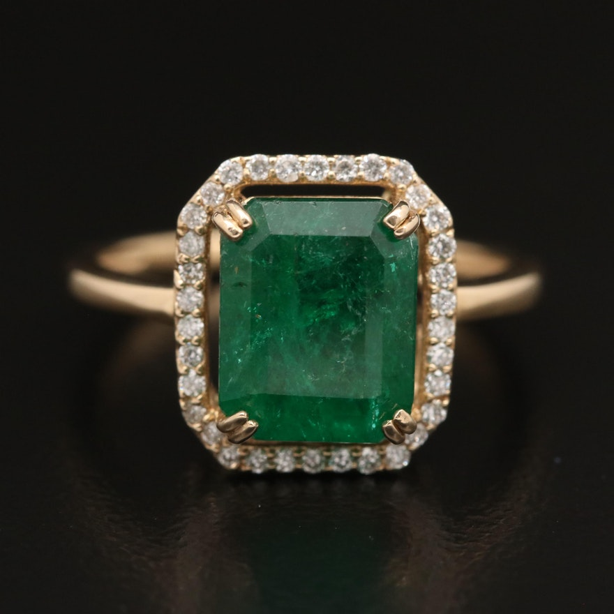 14K 3.33 CT Emerald and Diamond Halo Ring