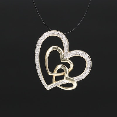 10K Diamond Triple Heart Pendant