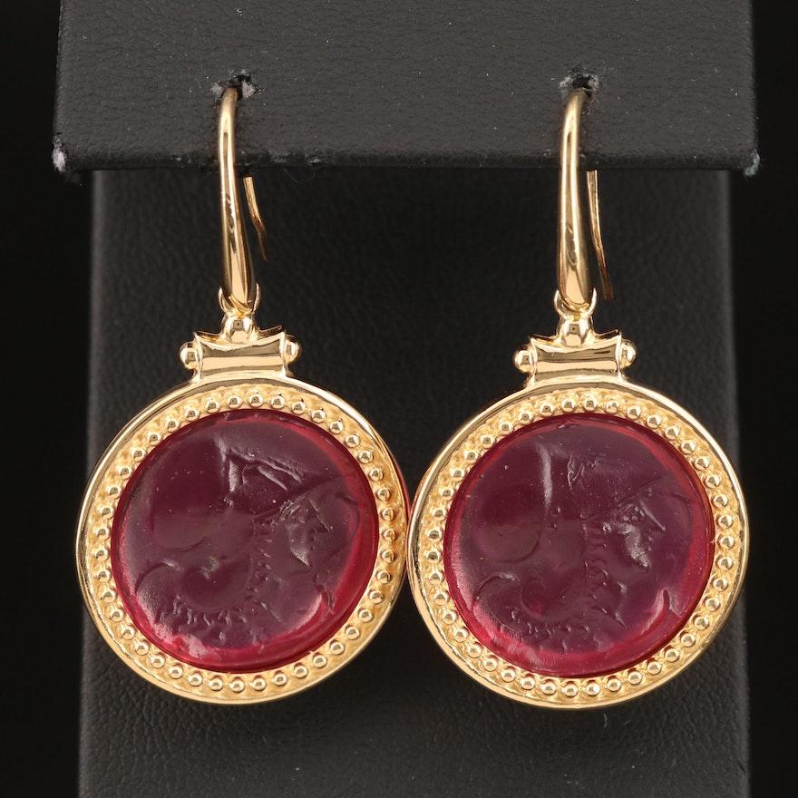 Sterling Glass Cameo Earrings