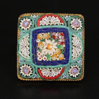 Vintage Italian Glass Micromosaic Brooch