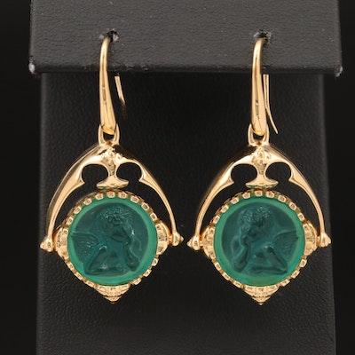 Sterling Glass Cupid Earrings