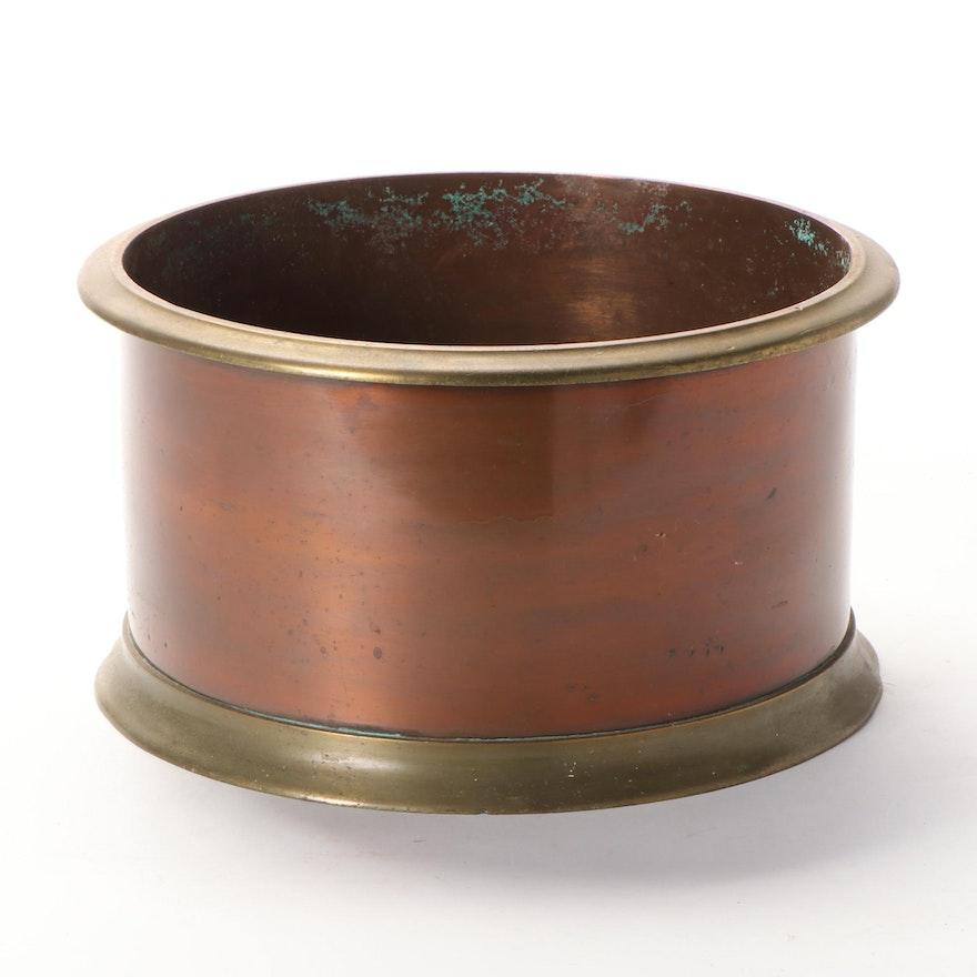 Fairbanks Heavy Brass Rimmed Copper Grain Bin Planter, Mid-20th C.