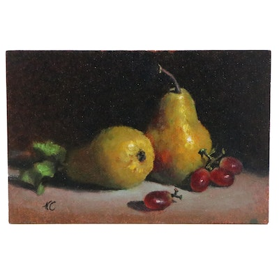Natalie Clarke Still Life Miniature Oil Painting of Fruit, 21st Century