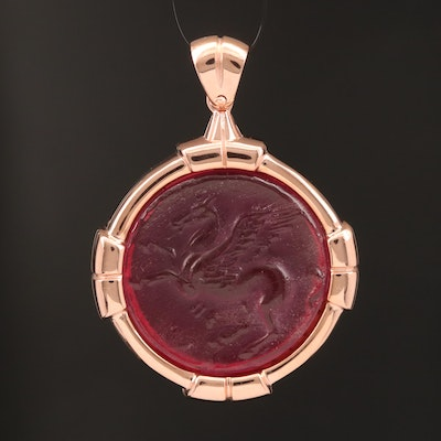 Sterling Glass Pegasus Cameo Pendant