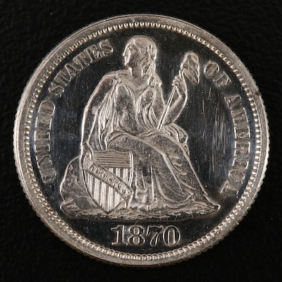 1870 Low Mintage Proof Seated Liberty Dime