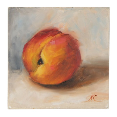 Natalie Clarke Still Life Oil Painting of Peach, 21st Century