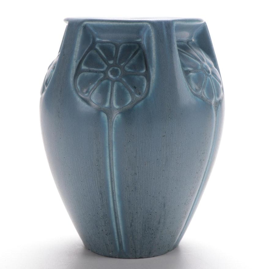 Rookwood Pottery Blue Matte Glaze Floral Vase, 1932