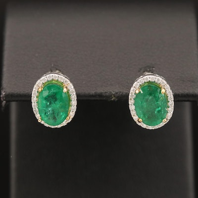 14K 2.00 CTW Emerald and Diamond Earrings