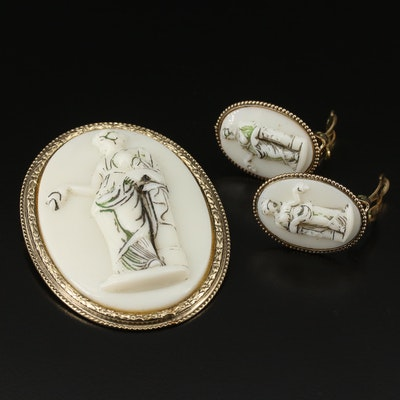 Vintage Whiting & Davis Brooch and Clip Earring Set Depicting Aphrodite