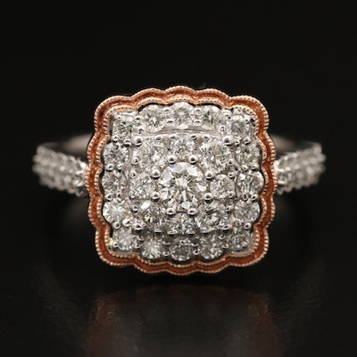 14K 1.10 CTW Diamond Cluster Ring with Rose Gold Accent