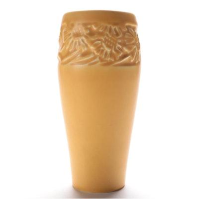 Rookwood Pottery Yellow Matte Glaze Daisy Motif Vase, 1928