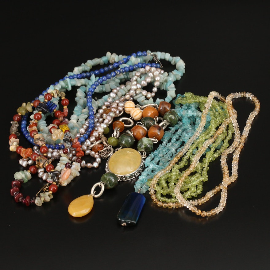Collection of Beaded Gemstone Necklaces Featuring Lapis Lazuli, Agate and Pearl