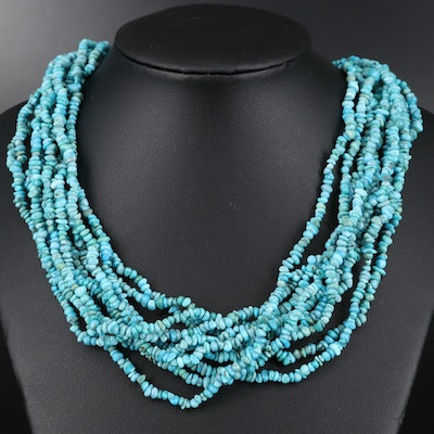 Carolyn Pollack Sterling Silver Multi Strand Turquoise Necklace