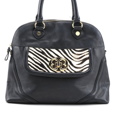 Emma Fox Two-Way Satchel in Black Leather with Calf Hair Detail