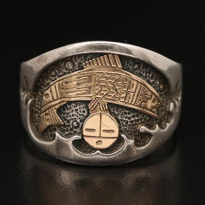 Roderick and Marilyn Tenorio, Kewa for Relios Sterling Ring with 14K Accents