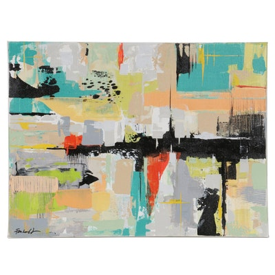 Farshad Lanjani Abstract Expressionist Style Acrylic Painting, 21st Century
