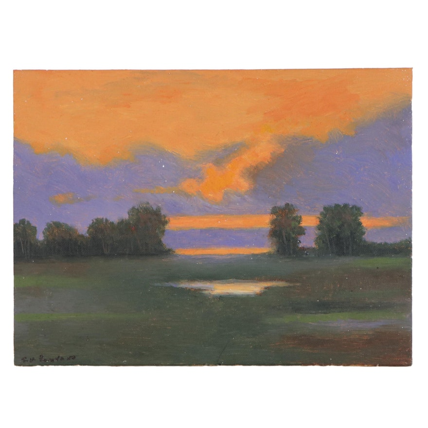 Sulmaz H. Radvand Oil Painting of Landscape at Sunset, 2020